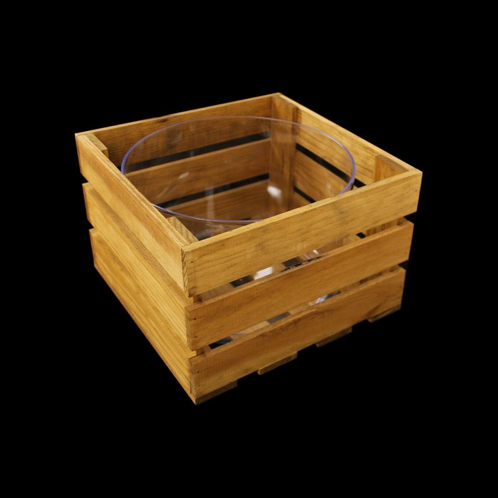 Cubitera reciclable de madera cuadrada